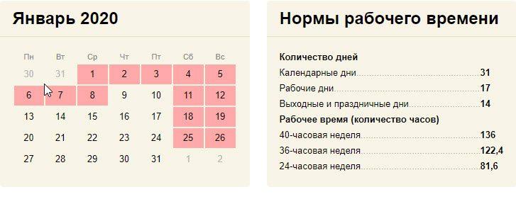 Праздники в январе 2020 года в России календарь