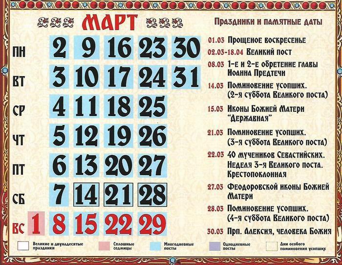 Православные праздники в марте 2020 года церковный календарь